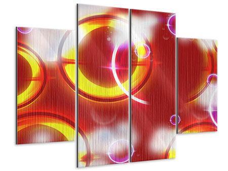 Metallic-Bild 4-teilig Abstraktes Retro