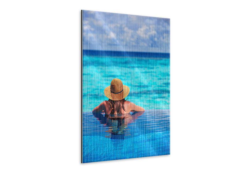 Metallic-Bild Der Pool ins Meer
