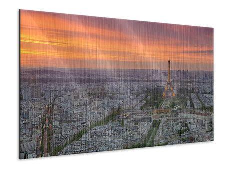 Metallic-Bild Skyline Paris bei Sonnenuntergang