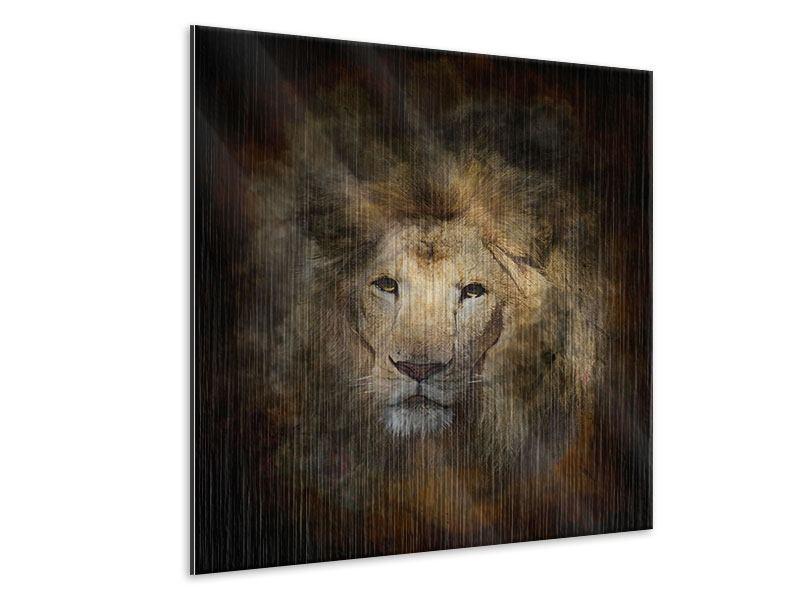 Metallic-Bild Löwenportrait