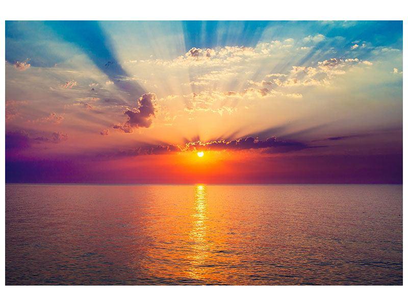 Metallic-Bild Mystischer Sonnenaufgang