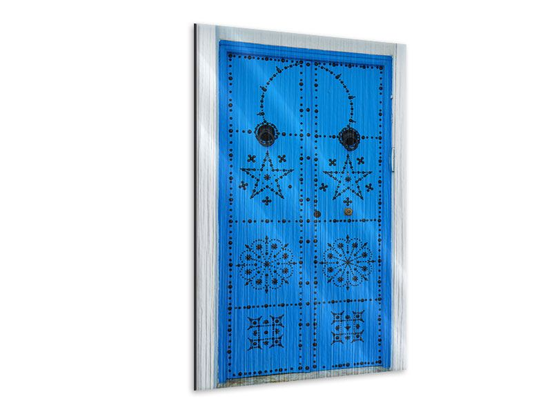 Metallic-Bild Blaue Holztür