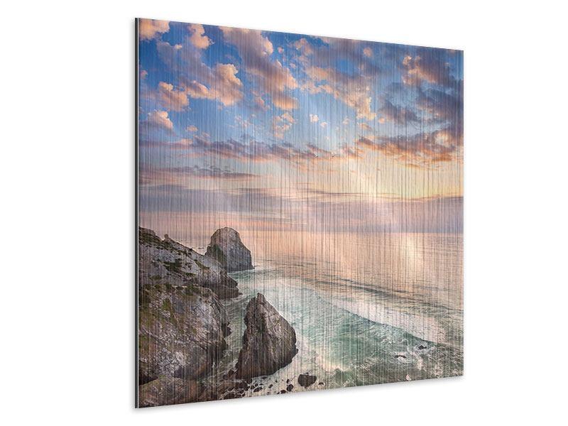 Metallic-Bild Romantischer Sonnenuntergang am Meer