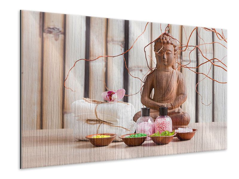 Metallic-Bild Buddha + Wellness