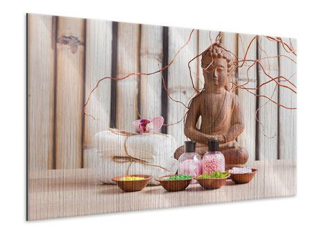 Metallic-Bild Buddha + Wellness
