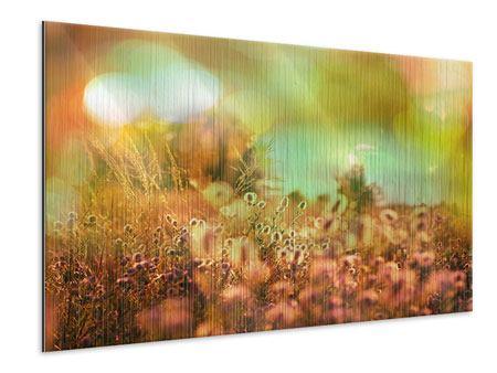 Metallic-Bild Blumenwiese in der Abenddämmerung