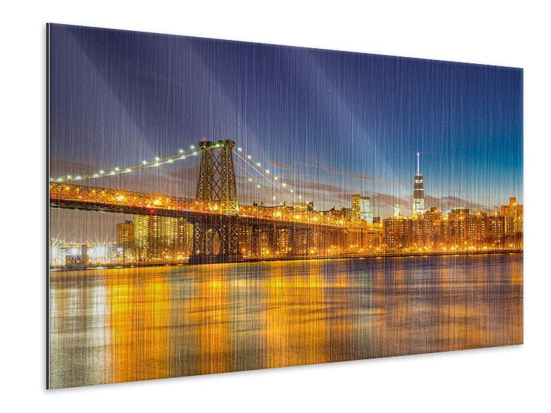 Metallic-Bild Skyline NY Williamsburg Bridge