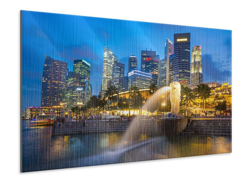 Metallic-Bild Skyline Singapur im Lichtermeer