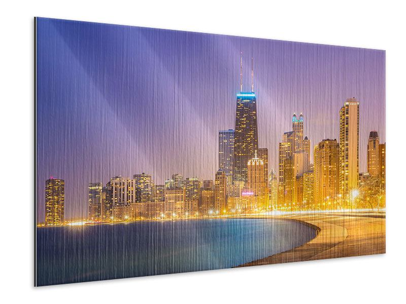 Metallic-Bild Skyline Chicago in der Nacht