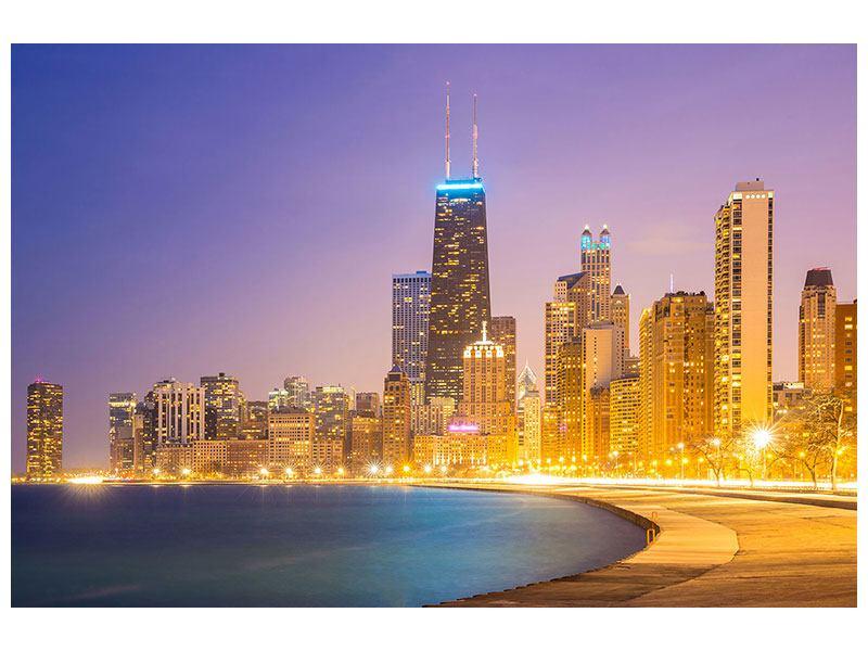 Metallic-Bild Skyline Chicago in der Nacht