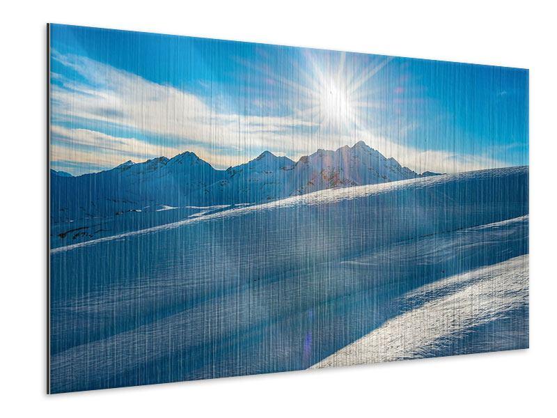 Metallic-Bild Ein Wintermärchen in den Bergen