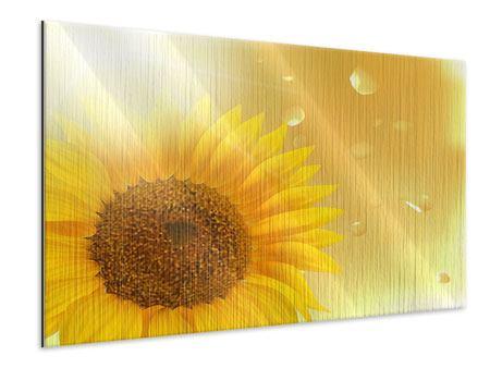 Metallic-Bild Sonnenblume im Morgentau