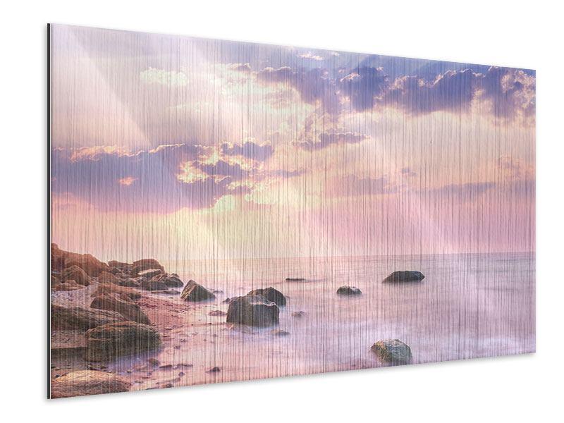 Metallic-Bild Sonnenaufgang am Meer