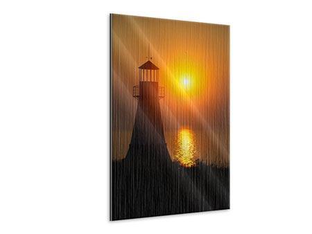 Metallic-Bild Ein Leuchtturm bei Sonnenuntergang