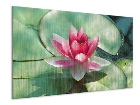 Metallic-Bild Der Frosch und das Lotusblatt