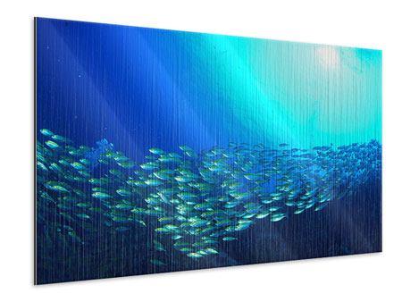 Metallic-Bild Fischschwarm