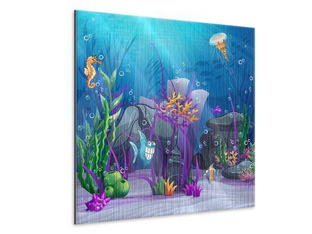 Metallic-Bild Unterwasserschatzsuche