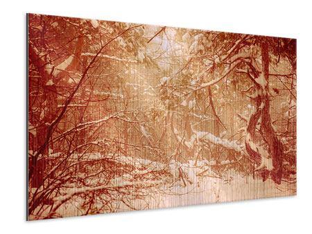 Metallic-Bild Schneewald
