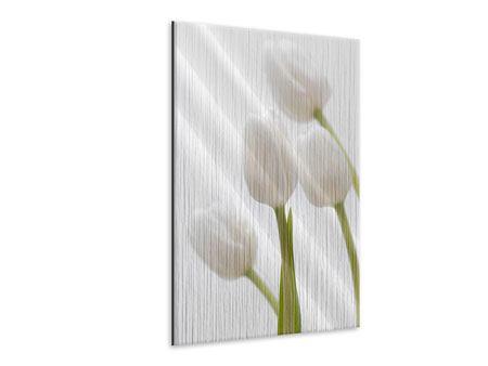 Metallic-Bild Weisse Tulpen