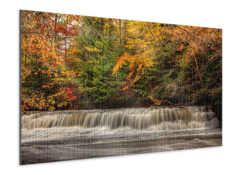 Metallic-Bild Herbst beim Wasserfall