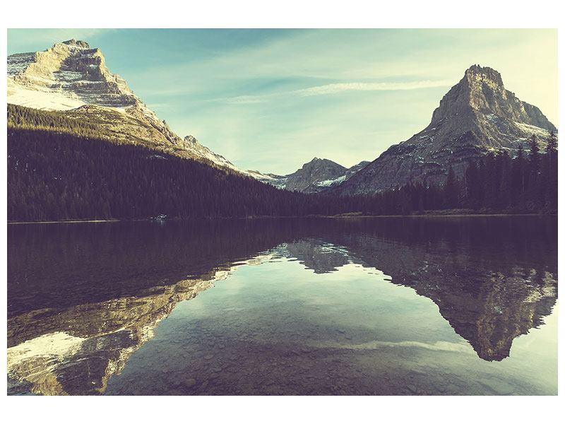Metallic-Bild Spiegelung im Bergsee