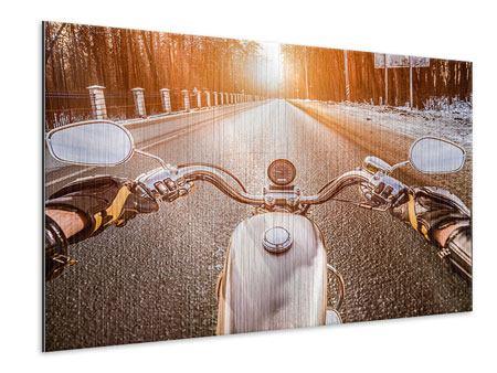 Metallic-Bild Auf dem Motorrad