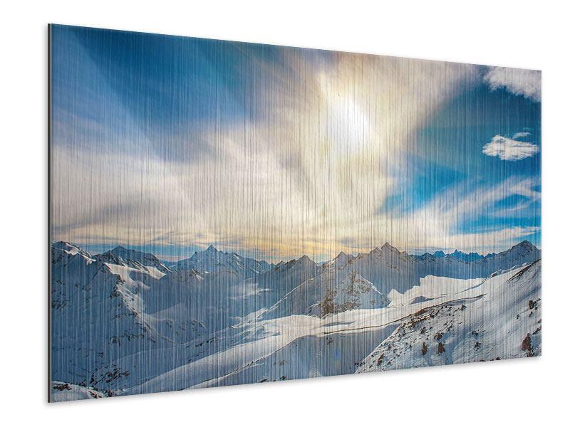 Metallic-Bild Über den verschneiten Gipfeln