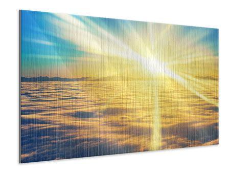 Metallic-Bild Sonnenuntergang über den Wolken