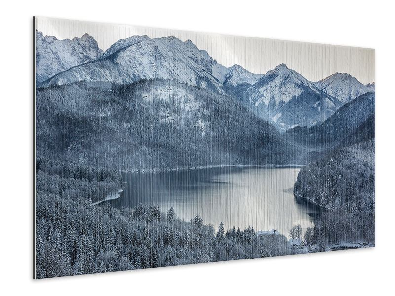 Metallic-Bild Schwarzweissfotografie Berge