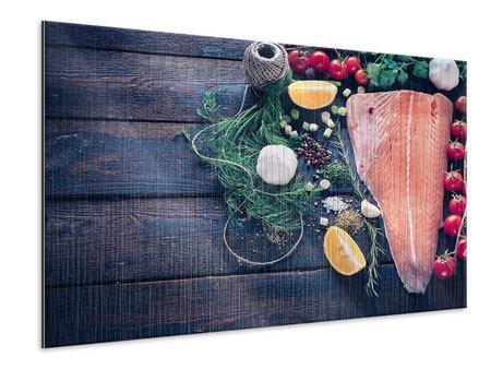 Metallic-Bild Fangfrischer Fisch