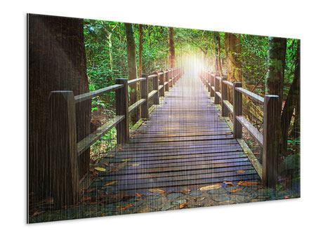 Metallic-Bild Die Brücke im Wald
