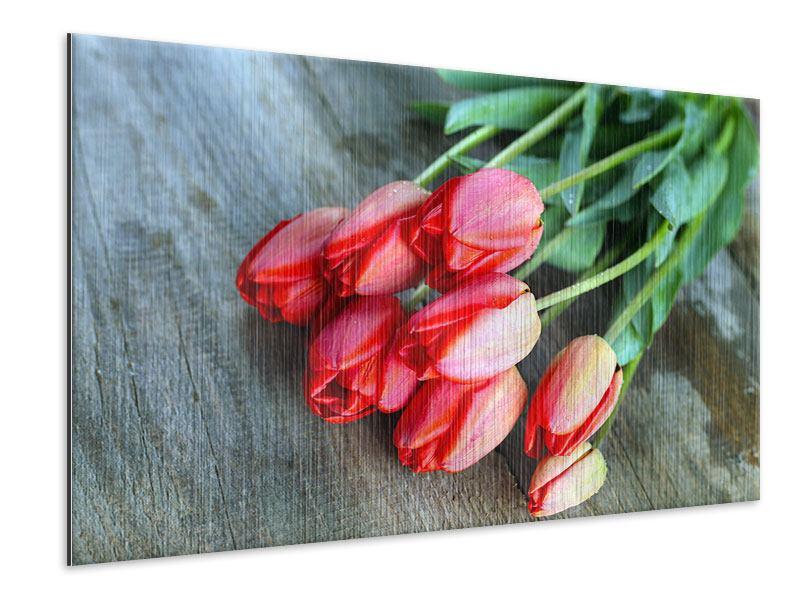 Metallic-Bild Der rote Tulpenstrauss