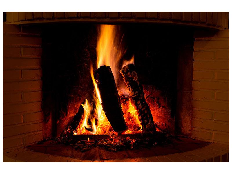 Metallic-Bild Feuer im Kamin