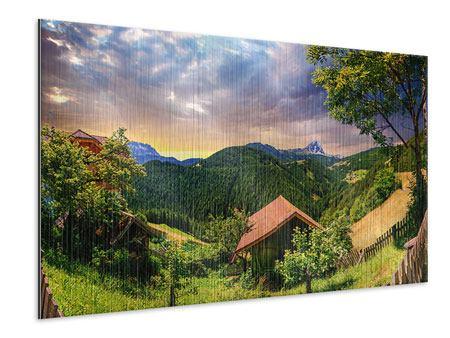 Metallic-Bild Schweizer Berge im Sommer