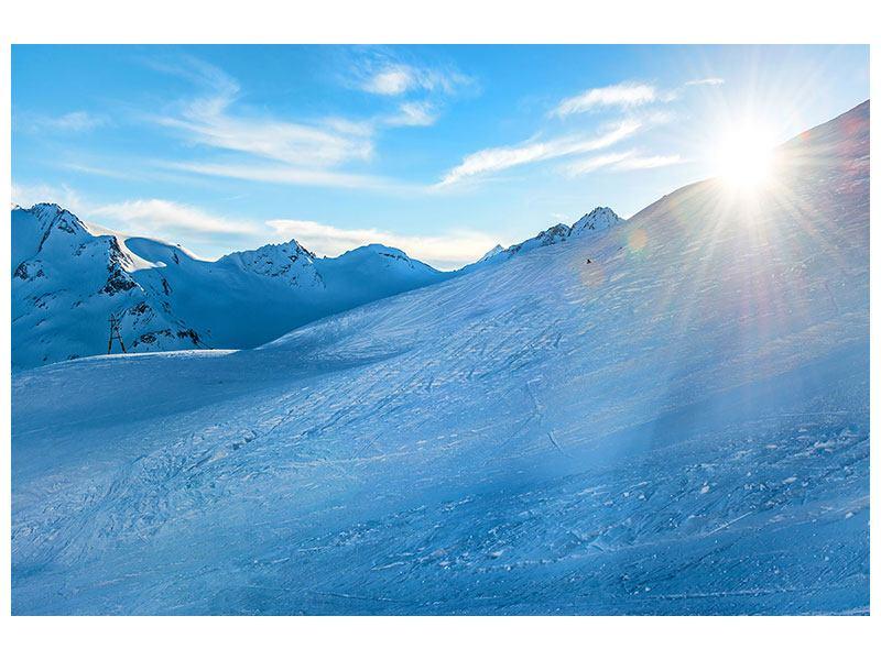 Metallic-Bild Sonnenaufgang in den Bergen