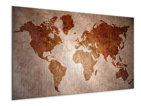 Metallic Print Vintage Map Of The World