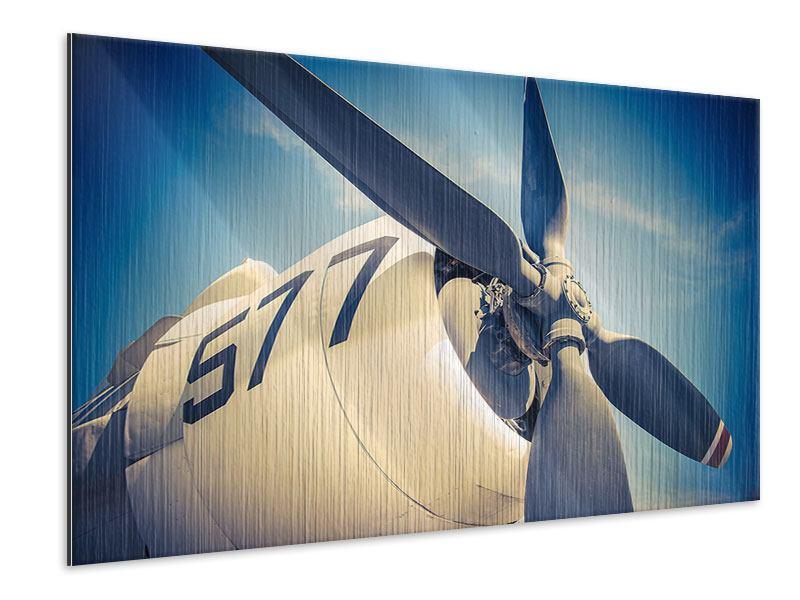 Metallic-Bild Close Up Propellerflugzeug