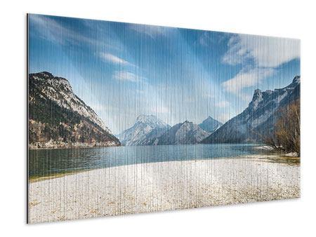 Metallic-Bild Der idyllische Bergsee