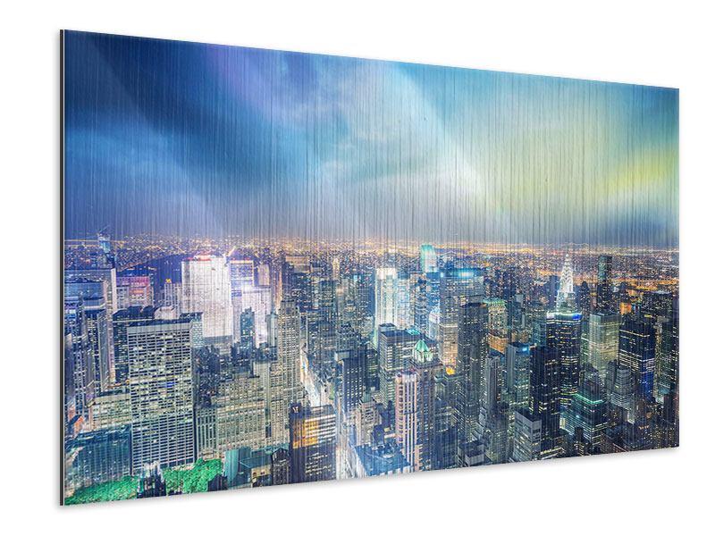 Metallic-Bild Skyline NY bei Sonnenuntergang
