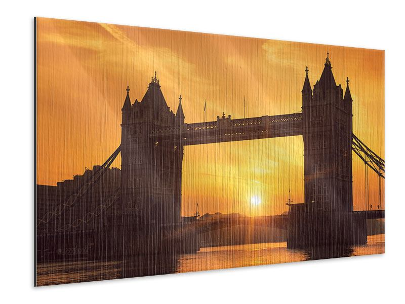 Metallic-Bild Sonnenuntergang bei der Tower-Bridge