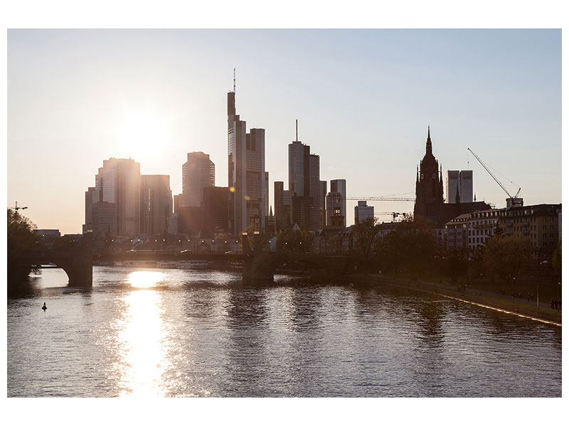 Metallic-Bild Skyline Sonnenaufgang bei Frankfurt am Main