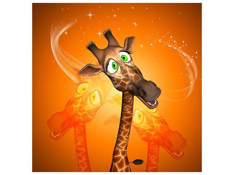 Metallic-Bild Giraffen Besuch