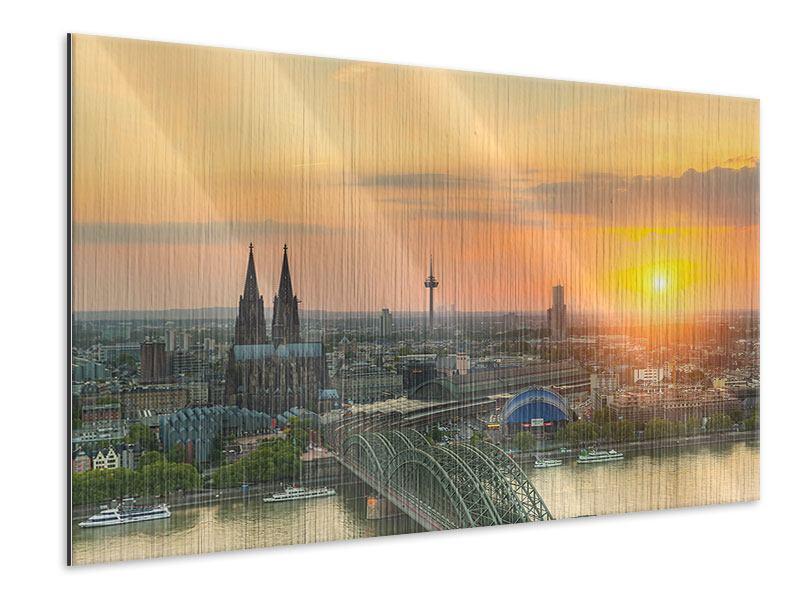 Metallic-Bild Skyline Köln bei Sonnenuntergang