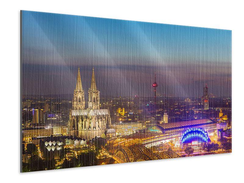 Metallic-Bild Skyline Kölner Dom bei Nacht