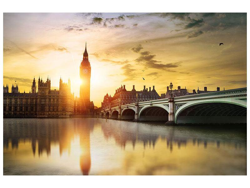 Metallic-Bild Skyline Big Ben im Sonnenuntergang