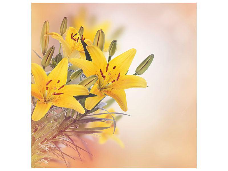 Metallic-Bild Gelbes Lilientrio