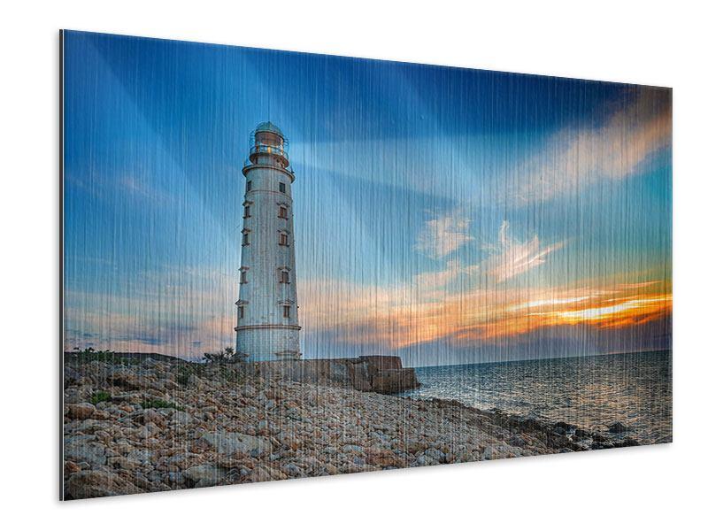 Metallic-Bild Sonnenuntergang am Leuchtturm