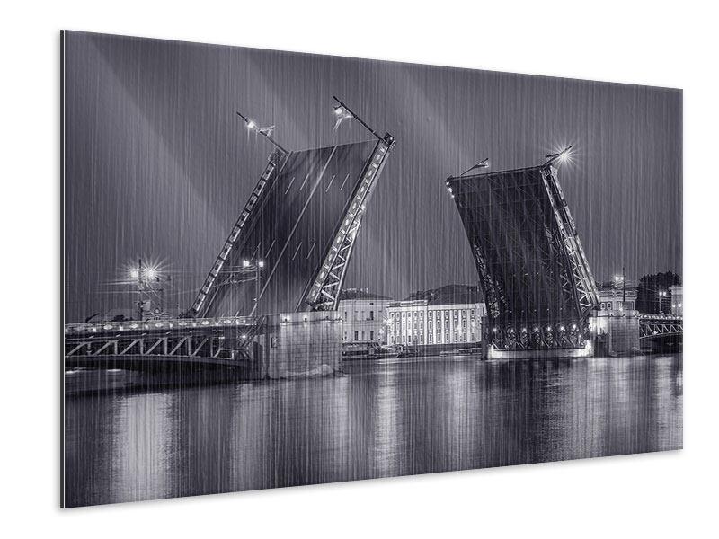 Metallic-Bild Klappbrücke bei Nacht