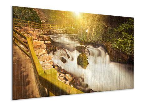 Metallic-Bild Sonnenuntergang am Wasserfall