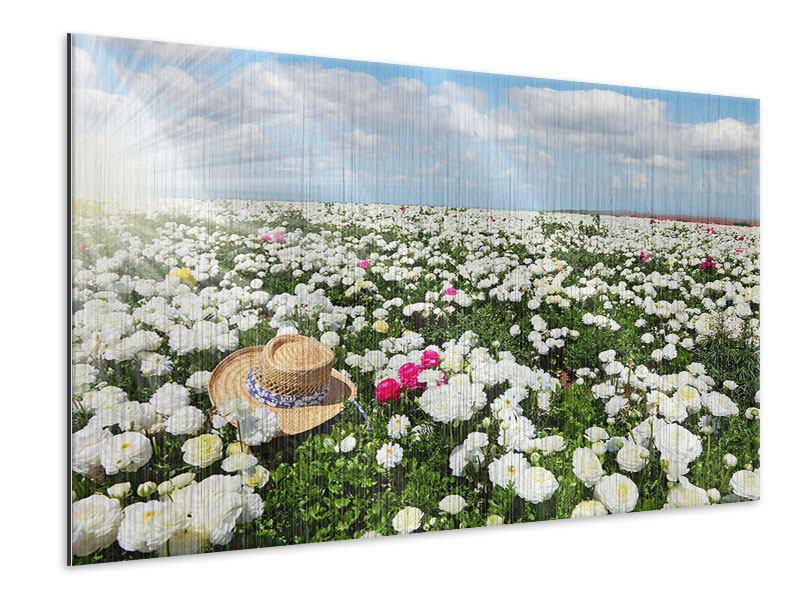 Metallic-Bild Die Frühlingsblumenwiese